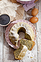 Sliced poppy seed cake and ingredients - CSF024899