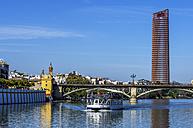 Spain, Andalusia, Sevilla, cityscape with Guadalquivir river - THA001329