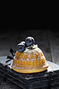 Mini Gugelhupf filled with ricotta and cream cheese garnished with blueberries - CSF024964