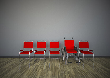 Red chairs with wheelchair in a room, 3d rendering - ALF000430