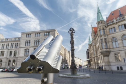 Germany, Brunswick, view to column '2000 years Christianity' with telescope in the foreground - EVGF001344