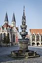 Germany, Brunswick, view to Old town market with St. Mary's fountain, Church St Martini and city hall - EVGF001346