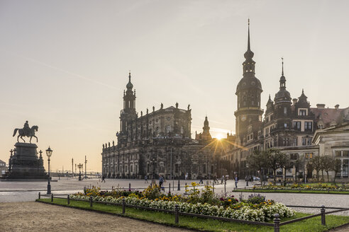 Germany, Dresden, view to palace and court church at sunrise - PVC000313