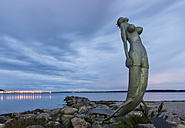 Germany, Eckernfoerde, mermaid sculpture at the coast - KEB000004