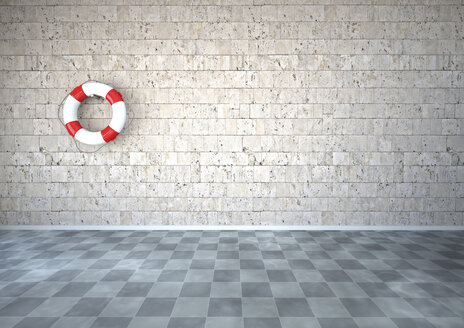 Live saver hanging on natural stone wall in room with checkerboard pattern floor, 3D Rendering - ALF000433