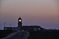 Portugal, Algarve, Sagres, lighthouse at Cabo Sao Vicente at dusk - MRF001548