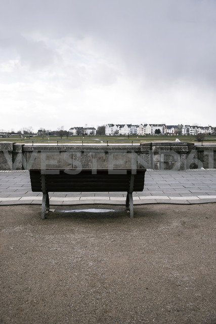 Germany, Duesseldorf, bench at Rhine promenade with view to Oberkassel - CHPF000109