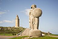 Spain, Galicia, La Coruna, Breogan statue and Roman lighthouse Torre de Hercules - RAEF000090