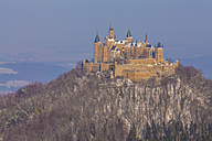 Germany, Baden-Wuerttemberg, View to Hohenzollern Castle in winter - WDF002990