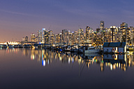 Canada, British Columbia, Vancouver, skyline at dusk as seen from Stanley Park - KEBF000019