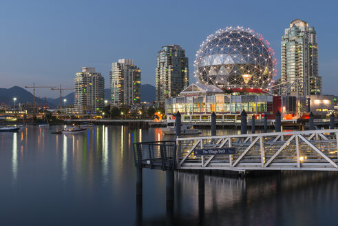 Canada, British Columbia, Vancouver, False Creek with Science World at dusk - KEBF000042