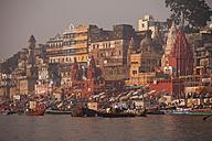 India, Uttar Pradesh, Varanasi, Ghats, boats and Ganges river - PCF000095