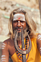 India, Uttar Pradesh, Varanasi, portrait  of a Sadhu with Shivas trishula - PC000096
