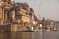 India, Uttar Pradesh, Varanasi, Ghats, boats and Ganges river - PCF000100