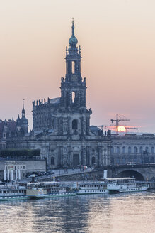 Germany, Dresden, view to court church at sunset - PVCF000347