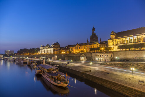 Germany, Dresden, view to lighted old city in the morning - PVCF000345