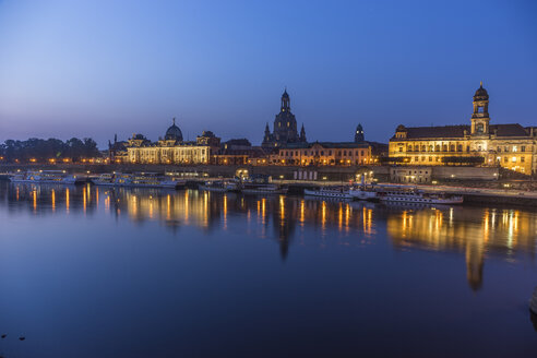 Germany, Dresden, view to lighted  old city in the morning - PVCF000357