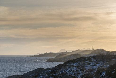 Norway, Lofoten, coast line at sunset - MKFF000182