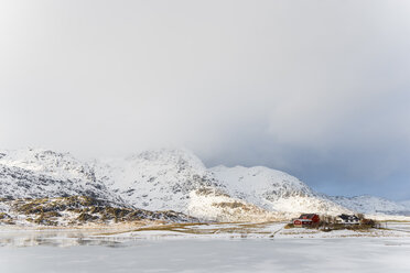 Norway, Lofoten, view to Leknes in winter - MKFF000184