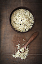 Peeled hamp seeds, wooden bowl and spoon - EVGF001422