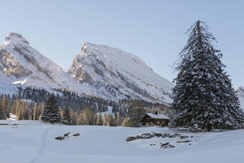 Switzerland, Canton of St. Gallen, near Toggenburg, Alt St. Johann, View to Mountains Churfirsten in winter - KEB000077