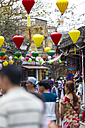 Vietnam, Hoi An, pedestrian area decorated with paper lanterns - MAD000139