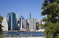 USA, New York, Lower Manhattan skyscraper skyline and East River seen from Brooklyn Bridge Park - PSF000671