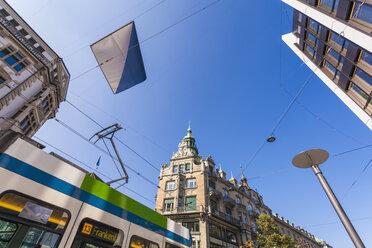 Switzerland, Zurich, Bahnhofstrasse, shopping street, Tram way - WDF003008