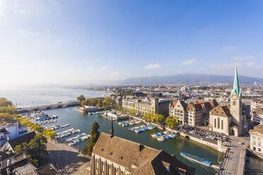 Switzerland, Zurich, Cityview, Limmat River, Town House Quai, Fraumuenster Church and Muenster Bridge - WDF003023