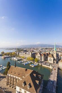 Switzerland, Zurich, Cityview, Limmat River, Town House Quai, Fraumuenster Church and Muenster Bridge - WDF003024