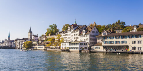 Switzerland, Zurich, River Limmat, Fraumuenster Church and St. Peter Church, Panorama - WDF003026