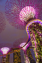 Singapore, lighted Supertrees in Gardens by the Bay and Marina Bay Sands Hotel at night - GEM000171