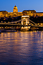 Hungary, Budapest, chain bridge and castle in the evening - EJWF000731