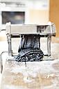 Making black tagliatelle in pasta machine - SBDF001758