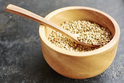 Hemp seeds in a wooden bowl. - HAWF000764