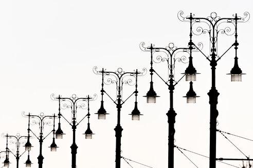 Hungary, Budapest, row of candelabra - EJWF000749