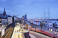 Germany, Hamburg, subway station Landungsbruecken at blue hour - BRF001155
