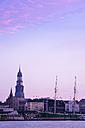 Germany, Hamburg, St. Michaelis Church at River Elbe at dawn - BR001161