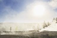 USA, Wyoming, Yellowstone National Park, Lower Geyser basin, Tourist and steam of the geysers in the morning - FOF008001