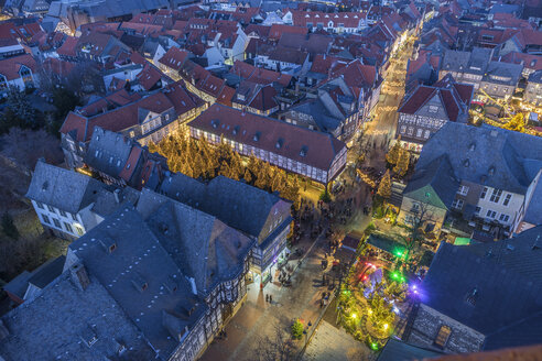 Germany, Lower Saxony, Goslar, Christmas market in the evening - PVCF000408