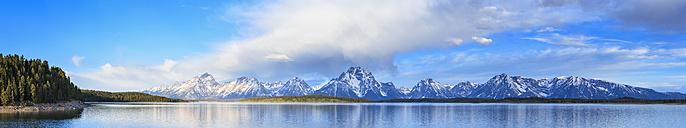 USA, Wyoming, Grand Teton National Park, Jackson Lake mit Teton Range, Mount Moran, Panorama - FOF008088
