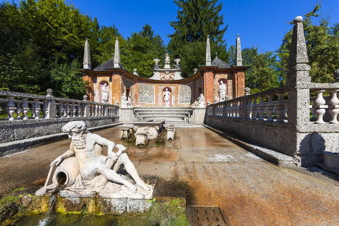 Austria, Salzburg, Hellbrunn Palace, Roman theatre and trick fountains with the dinner table - AM003953