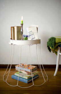 Upcycled old lampshade used as side table - GISF000108