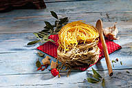 Two sorts of uncooked Tagliolini pasta, parmesan, chili pods, herbs, olive twig and cooking spoon - CSF025301