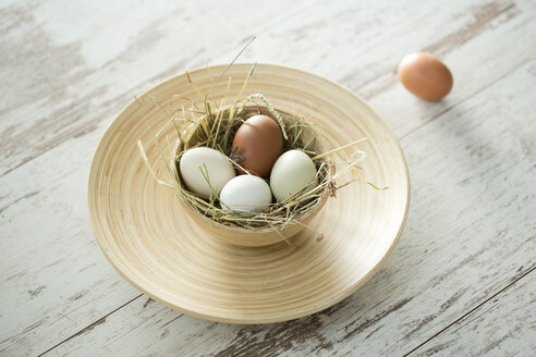 Easter nest with eggs in bowl on wood - MAEF010248