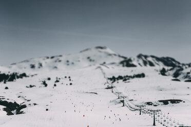 Spain, Lleida, Mountains in winter, ski resort - JPF000038