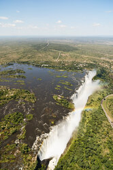 Border of Zimbabwe and Zambia, aerial view of Victoria Falls - CLPF000089