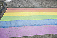 Netherlands, Maastricht, rainbow flag painted on the street - RIBF000010