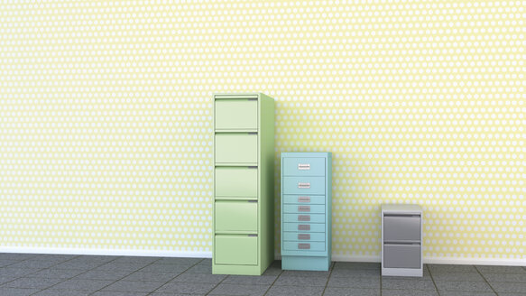Three different drawer cabinets in front of yellow wallpaper, 3D Rendering - UWF000439