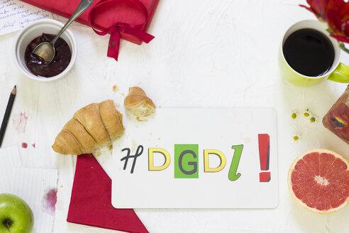 Acronym on chopping board on breakfast table - CMF000248
